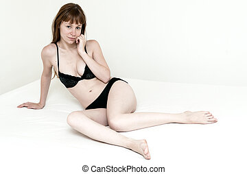 beautiful young attractive caucasian woman in lingerie