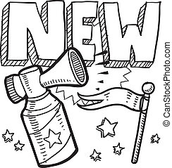 New product announcement sketch - Doodle style new product...