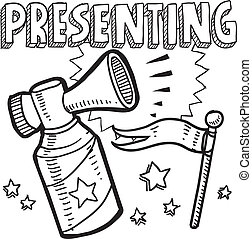 Presenting announcement sketch - Doodle style new product or...