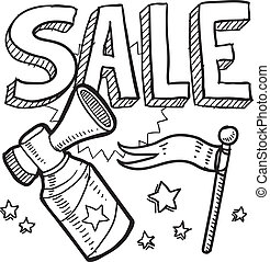 Sale announcement sketch - Doodle style retail sale...