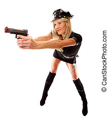 Sexy woman in police uniform with gun on a white - Full...