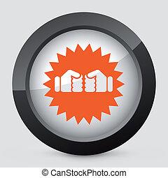 laranja, cinzento, ícone, vetorial, isolado