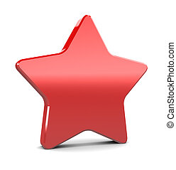 red star - 3d illustration of red plastic star over hwite...