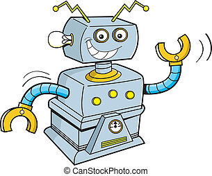 Cartoon robot - Cartoon illustration of a smiling robot.