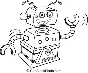 Cartoon robot - Black and white illustration of a smiling...