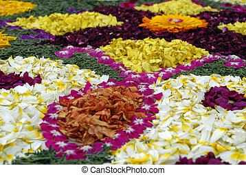 Rose petals rangoli decoration