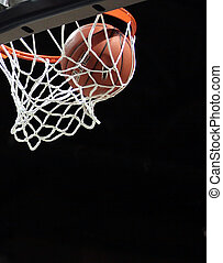 Basketball going through the net, swish