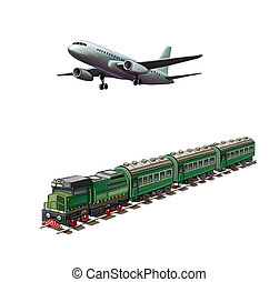 Real jet aircraft, Modern airplane, Green passanger train on...