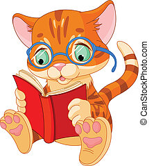 Cute Kitten Education - Cute Kitten with glasses reading a...