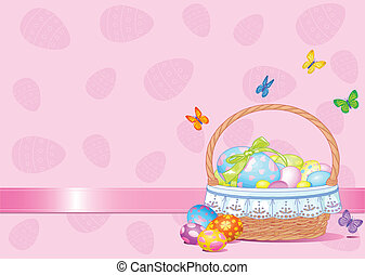 Easter Basket Background - Basket full of eggs background...