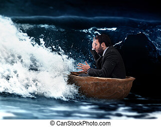 Pittfals - Man in small boat of walnut in a storm