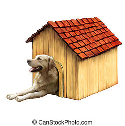 Dog in a dog house. Golden retriver, protecting resting, with his paws out