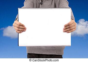 年輕, 簽署, 書, 成人, 藏品, 空白, 或者