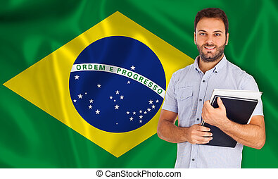 Brazilian language - Young smiling student learns the...
