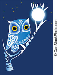 Night Owl - Whimsical Night Owl & full moon on dark blue...