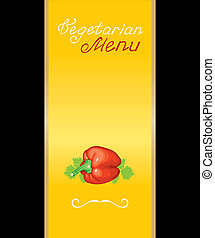 Cover for vegetarian menu with red peppers and leaf parsley