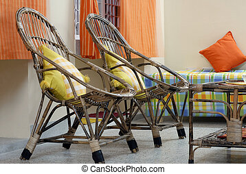 Cane Wooden Chair and table Furniture - Cane furniture...