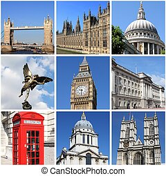 London landmarks collage - Collage of landmarks of London,...
