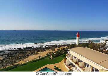 Durban boardwalk and lighthouse - Durban boardwalk along...