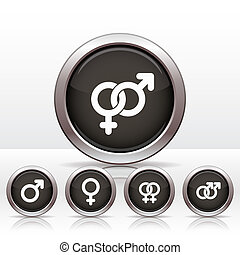 Male and female symbols. - Buttons with combinations of male...