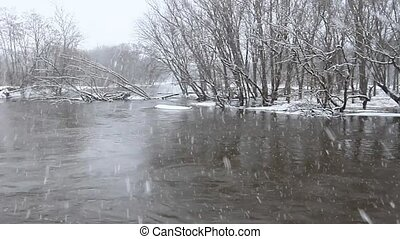 Kishwaukee River Winter Scene - Kishwaukee River flows...
