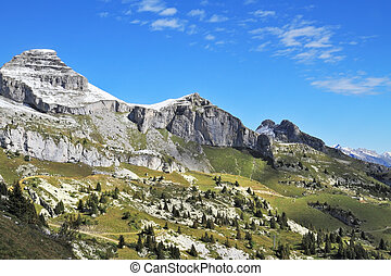 Cold sharp rocks - Swiss Alps in early fall. Cold sharp...