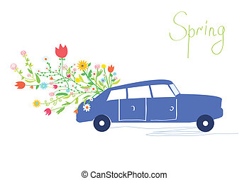 Car and flowers spring card retro design