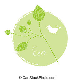 Eco label with leaves and birds