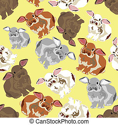 seamless background with rabbits