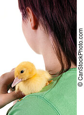 Hugging an easter duckling