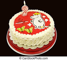 Moomin cake - The Snork Maiden moomin, onto a cream cake,...