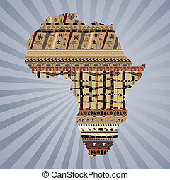 Abstract silhouette of Africa with traditional paintings