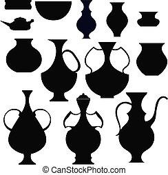 Black silhouettes pots