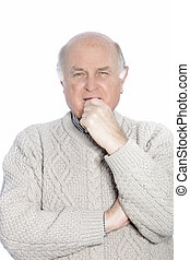 Old man holding his chin isolated on a white background