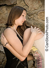 Girls Cry - Two teen Girls embracing and comforting each...