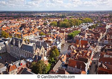 Panorama of the central part of Bruges Top view on the...