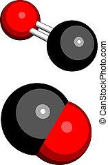 Carbon monoxide (CO), molecular model. - Carbon monoxide...