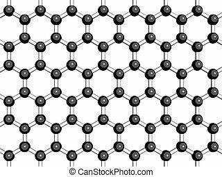 Graphene sheet, molecular model. Graphene is an allotrope of...