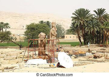 escavação, Egito,  Área,  Thebes