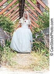 beautiful girl in medieval dress