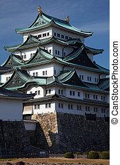 Nagoya Castle - Summer view of Nagoya Castle under blue sky....