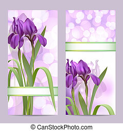Set of spring banners with Purple Iris Flowers on bokeh...