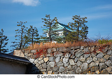 Nagoya Castle - Summer view of Nagoya Castle under blue sky...