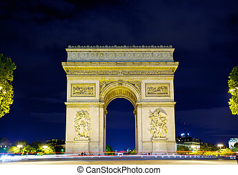 Arch of Triumph at night, Paris, France - Arch of Triumph at...
