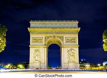 arco, triunfo, noche, parís, francia