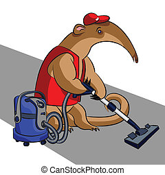 Anteater and vacuum cleaner - The cartoon anteater cleans...