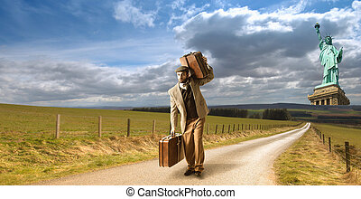 Emigrant from New york - Emigrant man with the suitcases