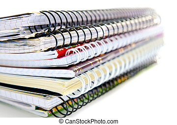 stack of notebooks isolated on a white background
