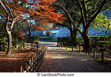 japanese tea house - Autumn view on japanese tea house and...