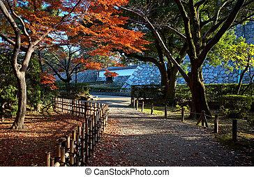 japanese tea house - Autumn view on japanese tea house and...